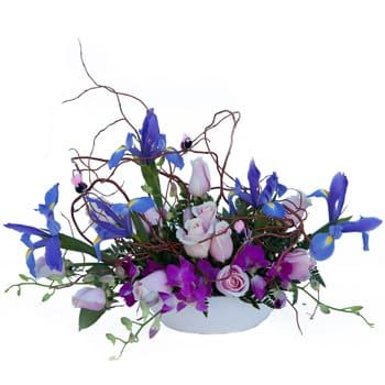 Isle Of Man bloemen bloemist- Twilight Fancies Floral Centerpiece Bloem Levering