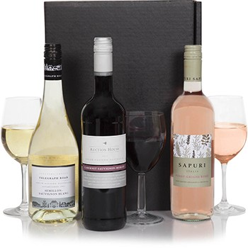 Bradford flowers  -  Classic Wine Trio Set Baskets Delivery