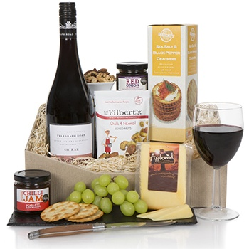 Bradford flowers  -  Classic Shiraz and Biscuits Gift Set Baskets Delivery
