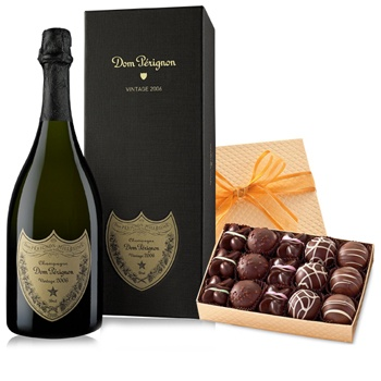 Leeds, United Kingdom flowers  -  Dom Perignon and a Box of Truffles Baskets Delivery