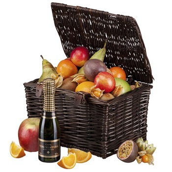 Sheffield flowers  -  Fruit and Bubbly Gift Basket Flower Delivery