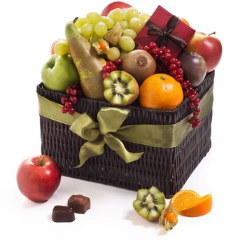Leeds, United Kingdom flowers  -  Fruity and Chocolate Rejoice Baskets Delivery