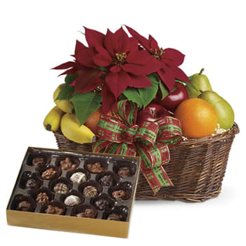 Leeds, United Kingdom flowers  -  Fruity Poinsettia and Chocolates Baskets Delivery
