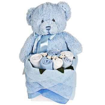 London blomster- Teddy Bear Bouquet Assortment for a Baby Boy Levering
