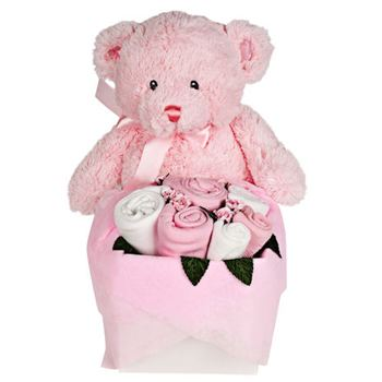Leeds, United Kingdom flowers  -  Teddy Bear Bouquet Assortment for a Baby Girl Delivery