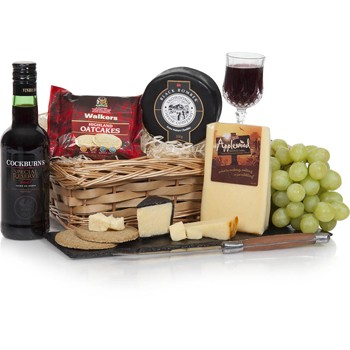 Bradford flowers  -  The Perfect Pair Cheese and Port Gift Basket Flower Delivery