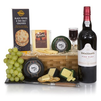 Bradford flowers  -  English Cheese Tasting Gift Basket Flower Delivery