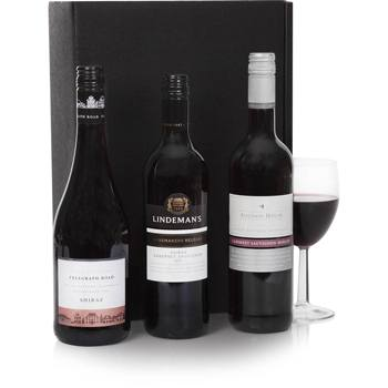 Bradford flowers  -  Triple Australian Wine Gift Set Baskets Delivery