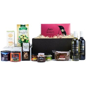 Sheffield flowers  -  Wine and Wonders Deluxe Basket Flower Delivery
