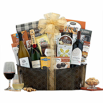 USA, United States online Florist - All-Star Wine Trio Gift Basket Bouquet