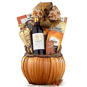 Columbus flowers  -  An Autumn Toast Wine Basket Baskets Delivery