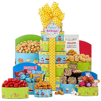 Long Beach flowers  -  Birthday Bundle Tower Baskets Delivery