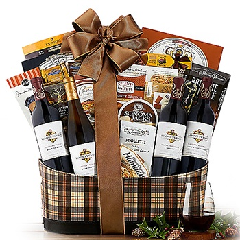 USA, United States online Florist - California Celebration Quartet Gift Basket Bouquet