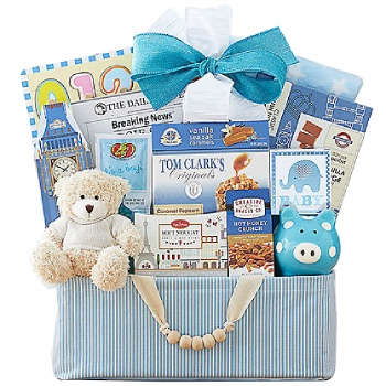 Albuquerque blomster- Celebrate New Life Gift Basket (Boy) kurver Levering