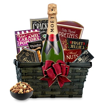 New York flowers  -  Champagne Gift Basket Flower Delivery