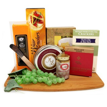 Dallas bunga- Delights Board Cheese Baskets Penghantaran