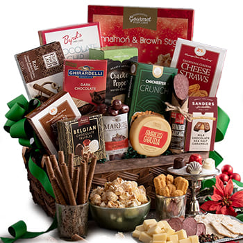 Boston, United States online Florist - Christmas Bounty Gift Basket Bouquet