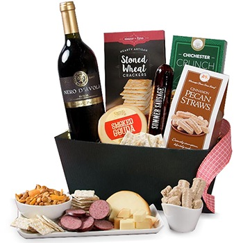 Long Beach flowers  -  Classic Wine Hamper Baskets Delivery