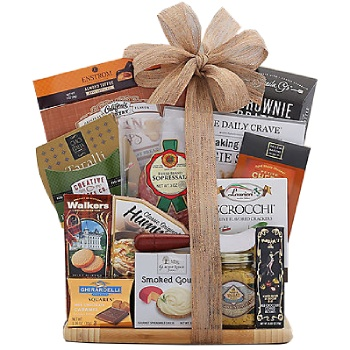 Boston, United States online Florist - Cutting Board Favorites Holiday Gift Basket Bouquet