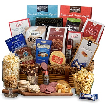 USA, United States online Florist - Decked in Snacks Gift Basket Bouquet