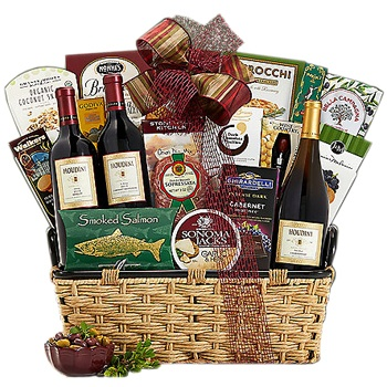 Austin flowers  -  Christmas Celebration Wine Basket Baskets Delivery