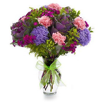 Washington blomster- Garden Glory Carnation Bouquet Kurve Levering