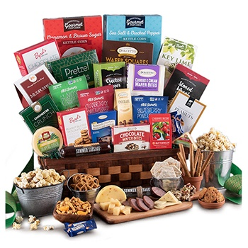Boston, United States online Florist - Gathered Around Gift Basket Bouquet