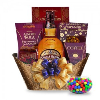 Boston bunga- Golden 12 Gift Basket Bunga Penghantaran