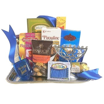 Raleigh blomster- Hanukkah Celebration Gift Basket kurver Levering