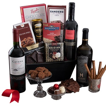 San Francisco flowers  -  Love in the Dark Gourmet Gift Basket Flower Delivery
