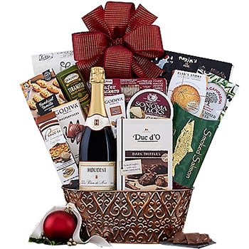 Long Beach flowers  -  Luxury Wine Gift Set Baskets Delivery