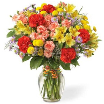 Long Beach flowers  -  Merry Morning with Alstromeria and Carnations Baskets Delivery