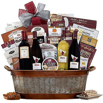 USA, United States online Florist - The Celebrated Quartet Gift Basket Bouquet