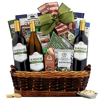 Long Beach flowers  -  Triple Delight Gift Basket Baskets Delivery