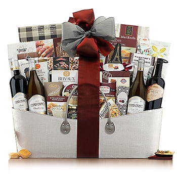 Boston, United States online Florist - Ultimate Holiday Basket with Ferrari-Carano Bouquet