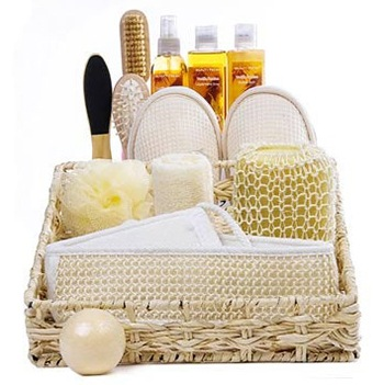 Dallas bunga- Vanilla Bath Bliss Baskets Penghantaran