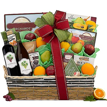 USA, United States online Florist - Wine and Dine Luxury Gift Basket Bouquet