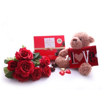 Oslo online Florist - Love Bear and Roses Bouquet