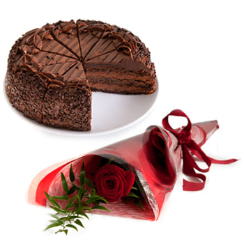 Uzbekistan online Florist - Chocolate Cake and Romance Bouquet