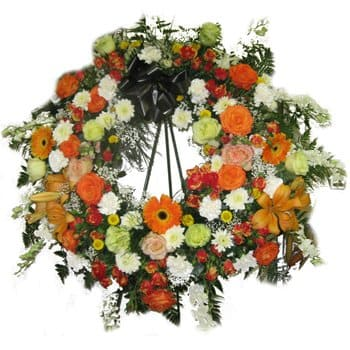British Virgin Islands flowers  -  Memory Wreath Flower Bouquet/Arrangement