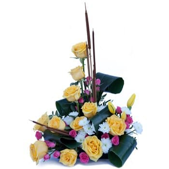 Abapó flowers  -  Vibrant Sentiments Centerpiece Flower Delivery