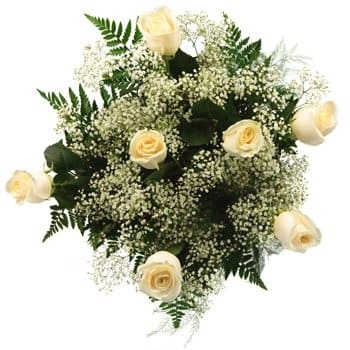 Mazkeret Batya flowers  -  Whispers in White Bouquet Flower Delivery