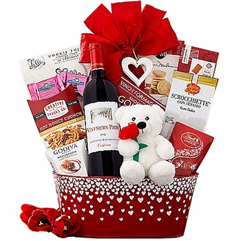 Los Angeles flowers  -  Wine And Dine Valentines Special Baskets Delivery