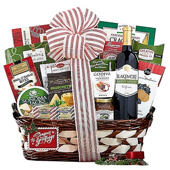 Long Beach flowers  -  Wine and Cookies Gourmet Assortment Baskets Delivery