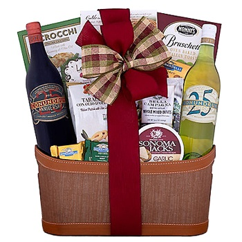 Houston flowers  -  Wine Duet Gift Set Baskets Delivery