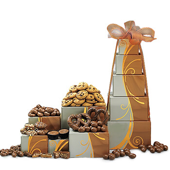 Luxembourg flowers  -  Chocolate Tower Baskets Delivery
