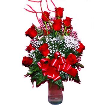 Ny Kingston online Blomsterhandler - 12 ROSER ARRANGEMENT Buket