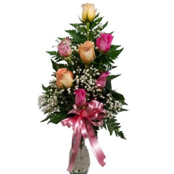 Ny Kingston online Blomsterhandler - 6 ROSER ARRANGEMENT Buket