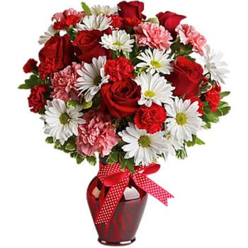 Spanish Town flowers  -  HUGS & KISSES RED ROSES Flower Delivery