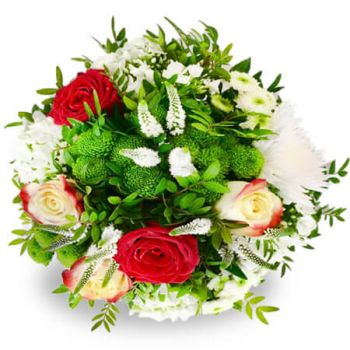 Denmark flowers  -  White and red beauty Flower Delivery